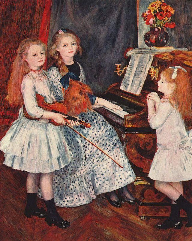 Pierre-Auguste Renoir. Retrato de las hijas de Catulle-Mendes en el piano (1888)