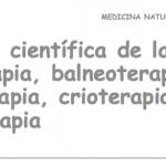 Evidencia científica de la hidroterapia, balneoterapia, termoterapia, crioterapia y talasoterapia