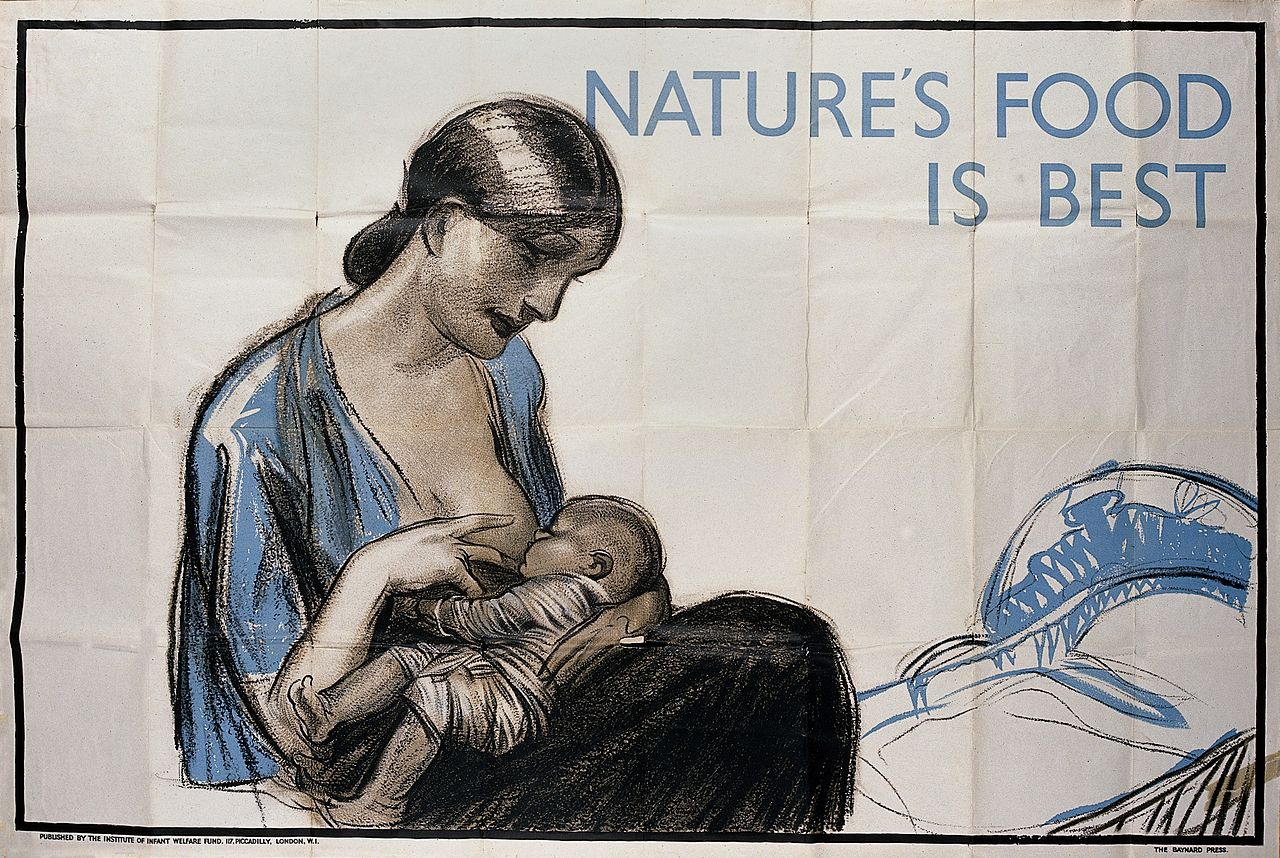 """A mother breastfeeding her child. Lithograph. Wellcome V0018430"" by Institute of Infant Welfare Fund"